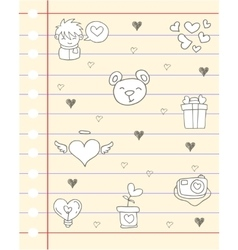 Love theme paper with hand draw vector