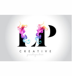 Lp vibrant creative leter logo design with vector