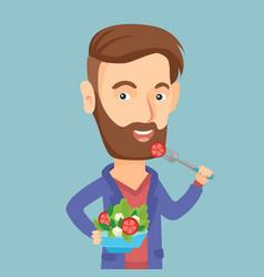 man eating healthy vegetable salad vector image vector image