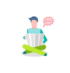 man reading newspaper reader looking at page vector image