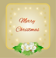 Merry Christmas decoration gold frame with flower vector