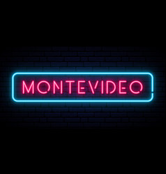 Montevideo neon sign bright light signboard vector