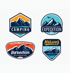 mountains set labels mountaineering climbing vector image