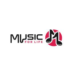 Music logo design letter m vector