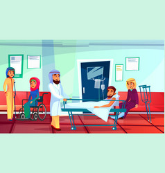Muslim doctor and patients vector