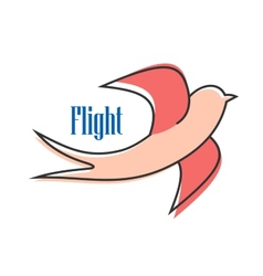 Nimble pink swallow in flight vector