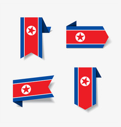 north korean flag stickers and labels vector image