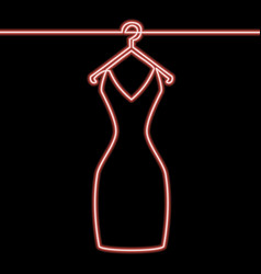 One line woman dress on hanger neon concept vector