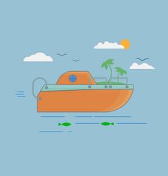 orange boat in flat style on sea vector image