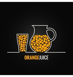 Orange juice glass bottle line design background vector