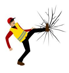 people in yellow vests vandalism vector image