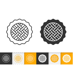 Pie simple black line sweet fruit tart icon vector