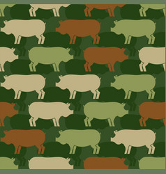 Pig army pattern eamless piggy military vector