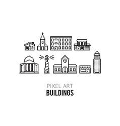 Pixel Buildings vector