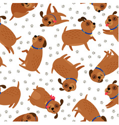 Puppy seamless pattern with paws footprints vector