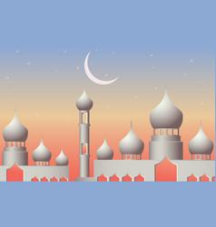 Ramadan kareem with mosque in night background vector
