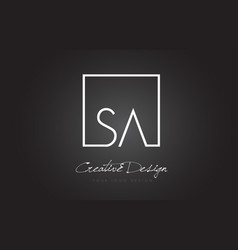 Sa square frame letter logo design with black and vector