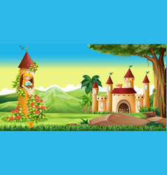 scene with princess in the tower vector image