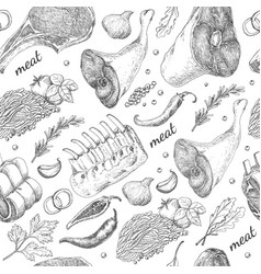 seamless pattern with different meat products vector image