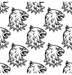 seamless pattern with head heraldic eagle vector image