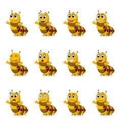 set collection caterpillar with facial expression vector image