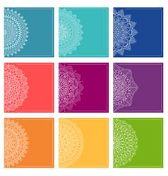 set greeting card templates with mandalas vector image