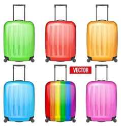 Set of Classic plastic luggage suitcase for air or vector