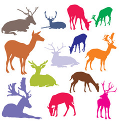 Set of colorful deer silhouettes vector