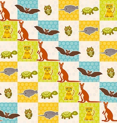 Set of funny animals bat turtle owl tiger kangaroo vector