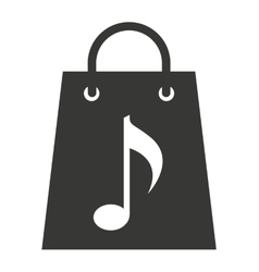 shopping bag with musical note isolated icon vector image