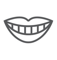 Smile with white tooth line icon stomatology vector