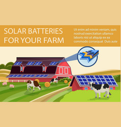 solar batteries for farm vector image