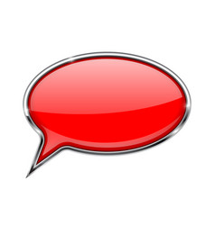 speech bubble red 3d icon with chrome frame vector image