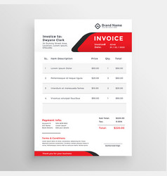 Stylish red theme invoice template vector