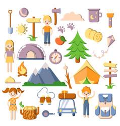 summer kids camping flat cartoon set of vector image