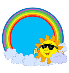 sun with cloud in rainbow circle vector image