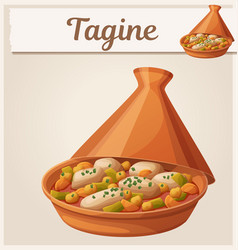 Tagine with chicken meat and vegetables icon vector