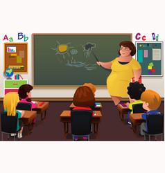 Teacher teaching in a classroom vector