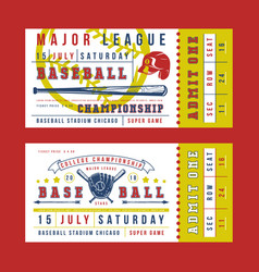 Template for vintage baseball ticket vector