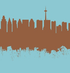 The city contour executed by a brush on a blue vector image