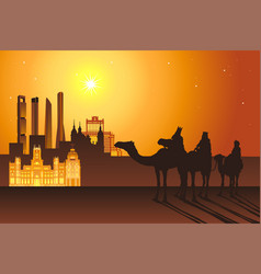 Three kings ride camels to madrid city vector