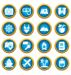 travel summer icons set simple style vector image