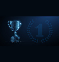 Trophy cup abstract 3d with laurel vector