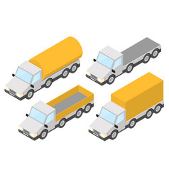 Trucks collection of yellow isometric vehicles vector