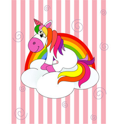unicorn sitting on a cloud with a rainbow on a str vector image
