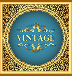 vintage background frame with a gold floral vector image