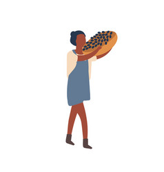 woman carrying fruit harvest flat vector image