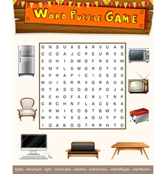 Word puzzle game with things in the house vector image