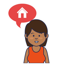Young woman avatar character with speech bubble vector
