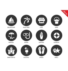 Beach tropical resort icons on white background vector image